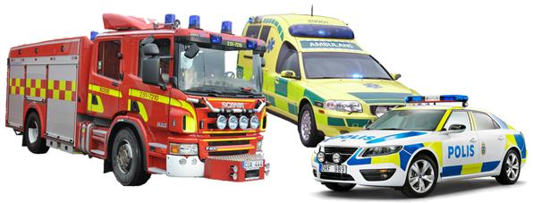 Polisbil, brandbil och ambulans
